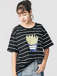 Damen Gestreift Einfach T-shirt,Rundhalsausschnitt ½ Länge Ärmel Baumwolle
