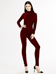 Women's Velvet|Backless Skinny JumpsuitsGoing out Casual/Daily Backless Mirco Velvet Sexy Street chic Solid Backless Round Neck