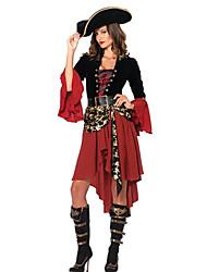 Costumes de Cosplay Costume de Soirée Pirate Fête / Célébration Déguisement d'Halloween Noir/Rouge Mosaïque Robe Ceinture Chapeau