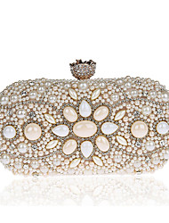 Women Evening Bag Polyester ABS+PC All Seasons Formal Event/Party Wedding Minaudiere Imitation Pearl Clasp Lock Black White Champagne