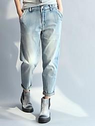 Women's Mid Rise Micro-elastic Loose Pants,Simple Loose Solid