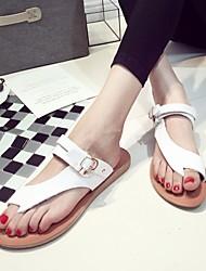 Damen Sandalen Komfort Leuchtende Sohlen Echtes Leder Sommer Normal Komfort Leuchtende Sohlen Weiß Gelb Flach