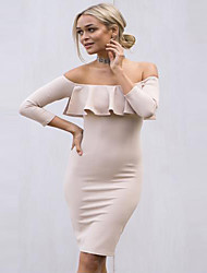 Women's Going out Casual/Daily Sexy Simple Bodycon Dress,Solid Strapless Above Knee Long Sleeve Polyester Spring Mid Rise Micro-elastic