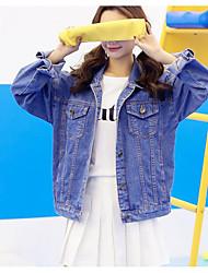 Women's Daily Contemporary Spring/Fall Denim Jacket,Solid Shirt Collar Long Sleeve Short Denim