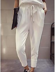 Hombre Sencillo Alta cintura Microelástico Chinos Pantalones,Delgado A Rayas
