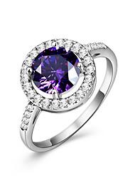 Кольцо Обручальное кольцо Аметист Цирконий Круг Pоскошные ювелирные изделия Elegant Драгоценный камень Цирконий Круглый Бижутерия Для