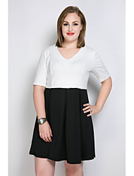Really Love Women's Plus Size Casual/Daily Party Sexy Simple Cute A Line Tunic Black and White Dress,Color Block Patchwork V NeckKnee-length Above
