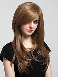 Donna Parrucche sintetiche Senza tappo Lungo Onda naturale Ramato Parrucca naturale costumi parrucche