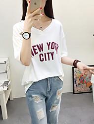 Damen Solide Einfach Normal T-shirt,V-Ausschnitt Halbe Ärmel Baumwolle