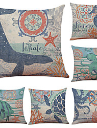 Set of 6 Aquatic Creature Pattern Linen Pillowcase Sofa Home Decor Cushion Cover  Throw Pillow Case (18*18inch)