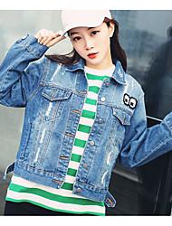 Feminino Jaqueta jeans Para Noite Fofo Primavera,Sólido Padrão Algodão Colarinho Chinês Manga Longa