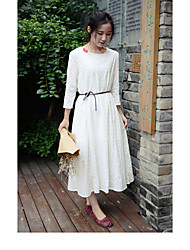 Women's Casual/Daily Lace Dress,Solid Round Neck Midi 3/4 Length Sleeve Cotton Summer Mid Rise Micro-elastic Medium