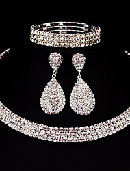 Three Row Jewelry Set Rhinestone Basic Classic DIY Alloy Square 1 Necklace 1 Pair of Earrings 1 Bracelet ForWedding Party Special Occasion