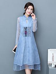 Feminino Camisa Vestidos Conjuntos Vintage Simples Primavera Outono Colarinho Chinês Manga Longa Micro-Elástica