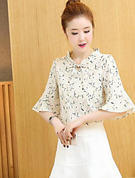 Women's Daily Simple Blouse,Floral V Neck Long Sleeve Polyester