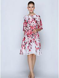 Feminino Reto Vestido,Trabalho Tamanhos Grandes Sofisticado Floral Decote Redondo Altura dos Joelhos Manga Curta Poliéster VerãoCintura
