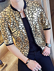 Men's Daily Modern/Comtemporary Summer Jacket,Pattern Round Neck Long Sleeve Short Polyester