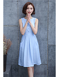 Women's Graduation Daily Date Going out Valentine's Day Simple Cute Street chic A Line Dress,Solid V Neck Above Knee Sleeveless Cotton