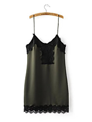Women's Going out Casual/Daily Lace Dress,Solid Strap Above Knee Sleeveless Spandex Summer Low Rise Inelastic Thin