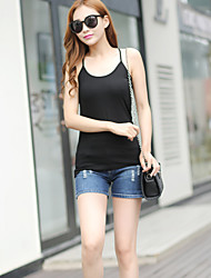 Women's Going out Sexy Simple Spring Summer Tank Top,Solid Striped U Neck Sleeveless Nylon Opaque Thin