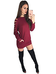 Women's Casual Sweatshirt Solid Round Neck Micro-elastic Cotton Spandex Long Sleeve Spring