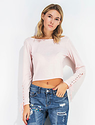 Damen Solide Einfach Ausgehen T-shirt,Bateau Langarm Baumwolle