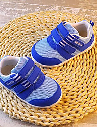 Girls' Flats First Walkers Tulle Spring Fall Outdoor Casual Walking Magic Tape Low Heel Screen Color Blue Beige Flat