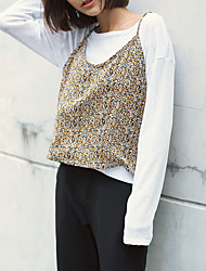Women's Casual/Daily Vintage T-shirt Skirt Suits,Print V Neck Sleeveless strenchy
