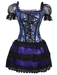 Feminino Vestido com Corpete Conjunto com Corpete Roupa de Noite,Sensual Retro Grosso