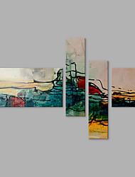 Ручная роспись Абстракция Любые формы,Современный Художественный Абстракция 4 панели Холст Hang-роспись маслом For Украшение дома