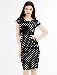 Robe Aux femmes Moulante Vintage / Simple / Street Chic,Points Polka Col Arrondi Mi-long Coton / Polyester