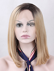 Natural Short Ombre Blonde Realistic Synthetic Hair Lace Front Wigs for Fashion Women Heat Resistant Glueless Half Hand Tied Fiber Hair