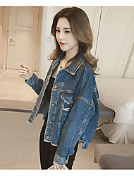 Women's Dailywear Tops Spring Coat,Solid Peaked Lapel Long Sleeve Regular Other