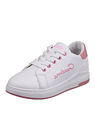Women's Athletic Shoes Comfort PU Spring Summer Fall Casual Comfort Low Heel White Black Blushing Pink Under 1in