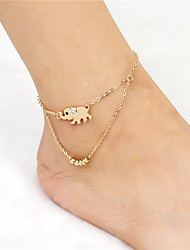 2017 Fashion Crystal Lucky Alloy Elephant Pendant Beads Chain Double Anklet For Women Beach Body Jewelry Summer Style For Daily Casual 1 pc