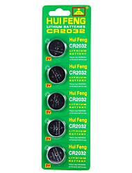 Bateria do botão hui feng cr2032 3v 5pcs