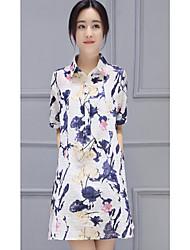Feminino Camisa Social Diário SimplesFloral Algodão Colarinho de Camisa Manga Curta