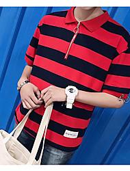 Masculino Camisa Social Diário Vintage Verão,Sólido Listrado Algodão Colarinho de Camisa Manga Curta Média