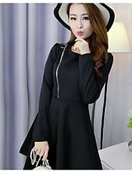 Sign 2016 Hitz long-sleeved pleated swing dress zipper cardigan
