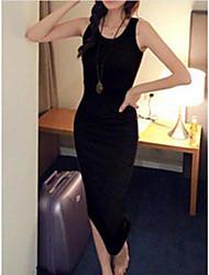 Women's Daily T Shirt Dress,Solid Round Neck Midi Sleeveless Cotton Spring Fall Low Rise Micro-elastic Medium