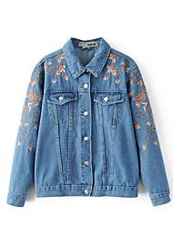 Women's Casual/Daily Simple Spring Fall Denim Jacket,Floral Shirt Collar Long Sleeve Regular Linen