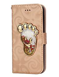 Para el iphone 7 7 más la carpeta del portatarjetas de la cubierta de la caja con el pie del pie que cambia la caja de cuero de la PU del
