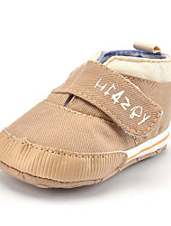 Newborn Baby Kids' Loafers & Slip-Ons First Walkers Twill Fall Winter Party & Evening Dress Casual Hook & Loop Flat Heel Khaki Navy Blue Flat