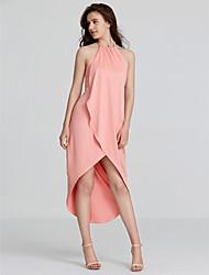 Women's Choker Beach Simple Loose Dress,Solid Halter Asymmetrical Sleeveless Pink / Red / Black / Green / Purple Polyester Summer