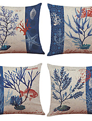 Set of 4 Marine Organisms Pattern  Linen Pillowcase Sofa Home Decor Cushion Cover