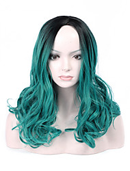 Fashion Black To Green Color Short Wave Woman's Synthetic Hair Wigs for Party and Daily Life