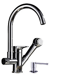 Contemporary Pull-out/­Pull-down CentersetCeramic Valve Single Handle One HoleKitchen faucet