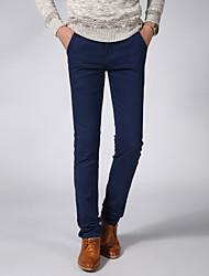Homme simple Taille Normale Haute élasticité Chino Pantalon,Mince Couleur Pleine