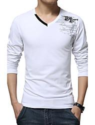 Tee-shirt Homme,Imprimé Décontracté / Quotidien Grandes Tailles simple Toutes les Saisons Manches Longues Col en V Coton Spandex Moyen