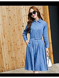 Sign denim skirt long-sleeved dress women long section of the new Korean fashion Slim was thin dress